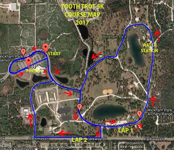Tooth Trot 5K Course Map 2017